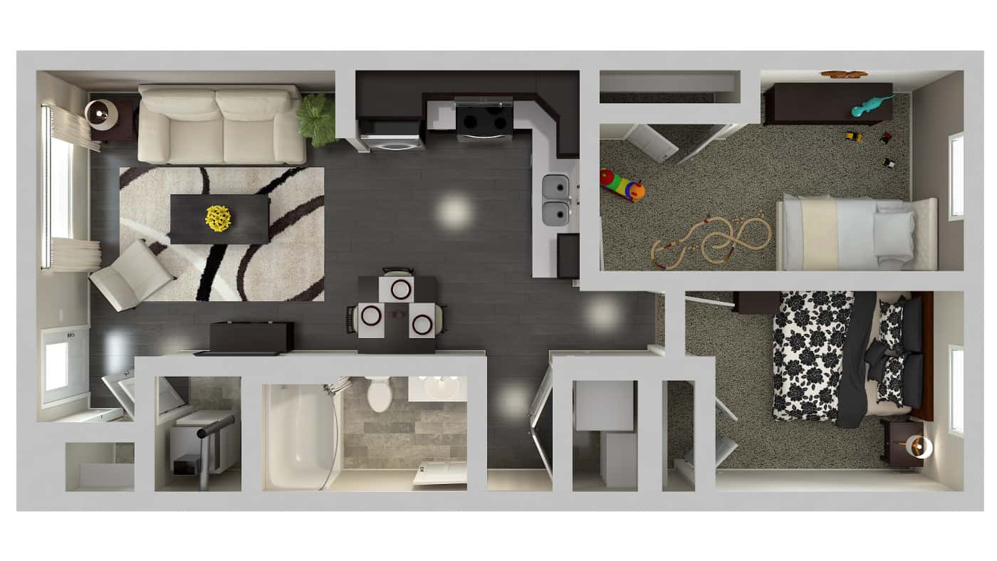 Urban Estates 2 Bedroom Walkout Floor Plan plan