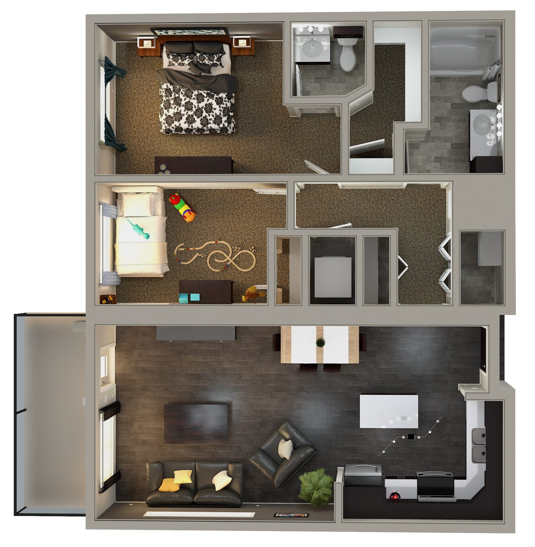 Kensington Flats 2 Bedroom Condo Floor Plan Option #1: 935 sq. ft. plan