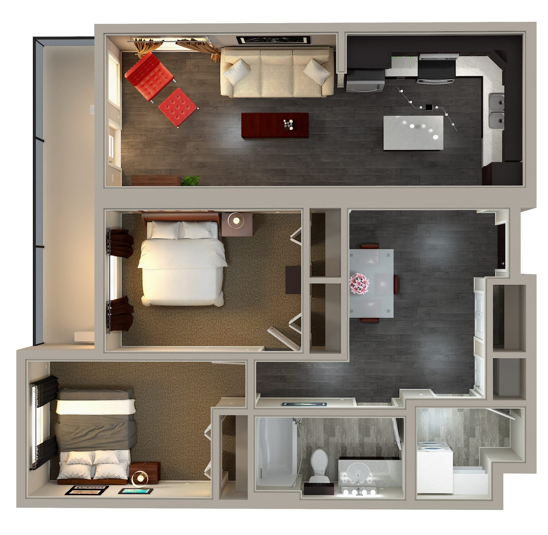 Kensington Flats 2 Bedroom Condo Floor Plan Option #2: 915 sq. ft. plan