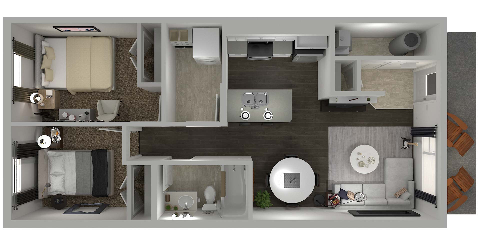 Cory Villas 2 Bedroom Walkout Floor Plan